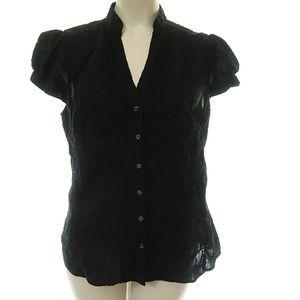Express Design Studio L Top Short Sleeve Button Fr